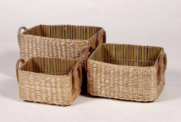 107: Seagrass Set of Baskets with Rose Colored Leather