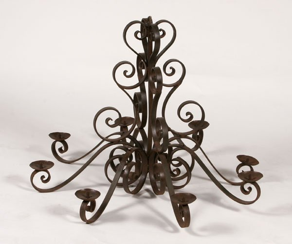 112: Wrought Iron Scroll Chandelier, Large