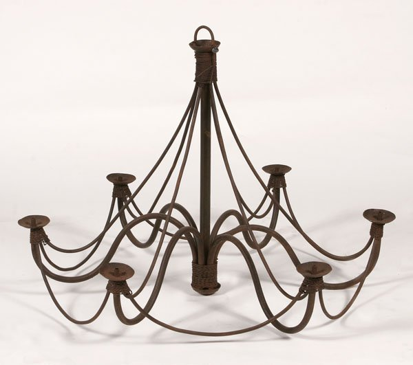 113: Wrought Iron Chandelier with Rope Detailing