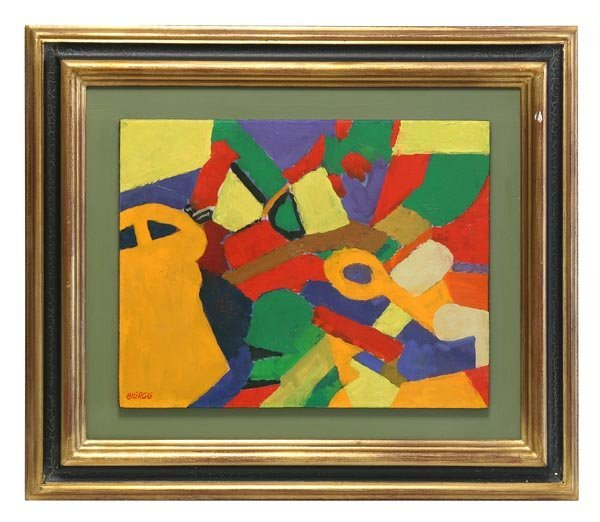 179: 19th C. Abstract Oil on Wood by Bierge