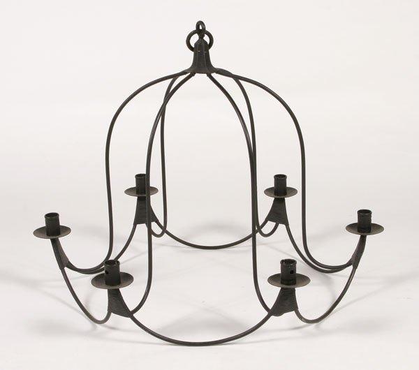 205: Iron Bell Jar Shaped Chandelier