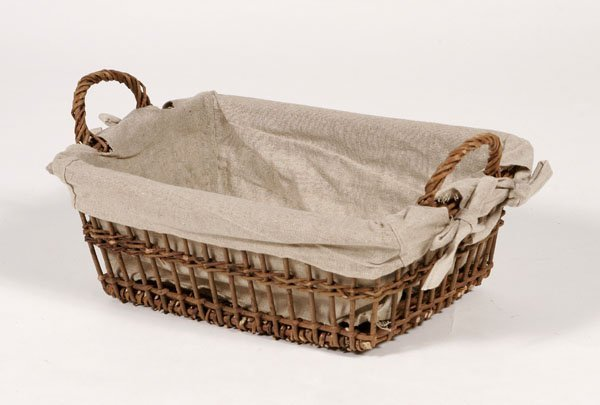 206: French Wicker Basket with Custom Linen Liner
