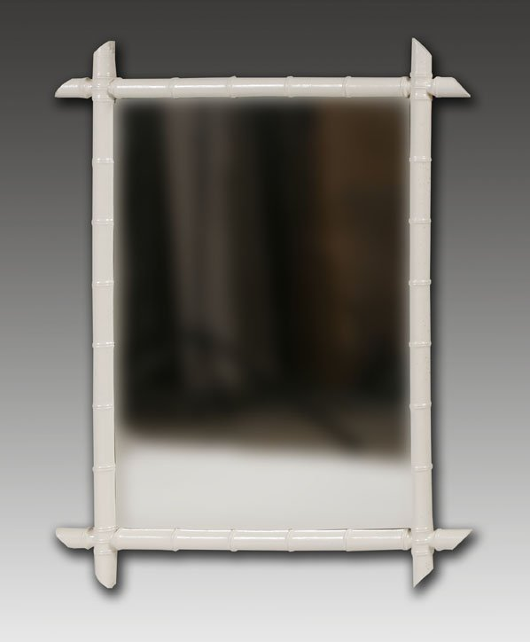 209: Mirror with Painted Bamboo Frame