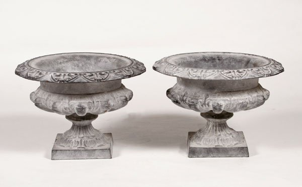 210: Pair of Empire Gris Garden Urns