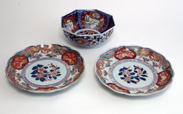 "109: ""Imari"" Japanese Porcelain Pair of Plates and Bowl"