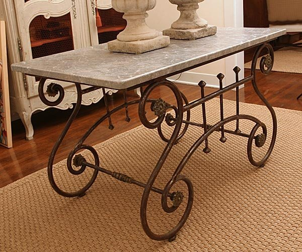 112: Napleon III Style Iron Butcher Table with Marble T