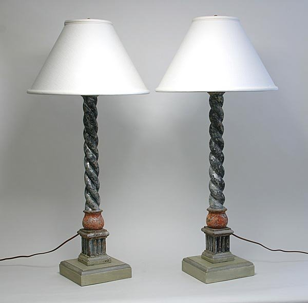 115: Faux Finished Carved 18th c. Column Pair of Lamps