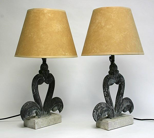118: Pair of Lamps made from Antique Metal Decoration