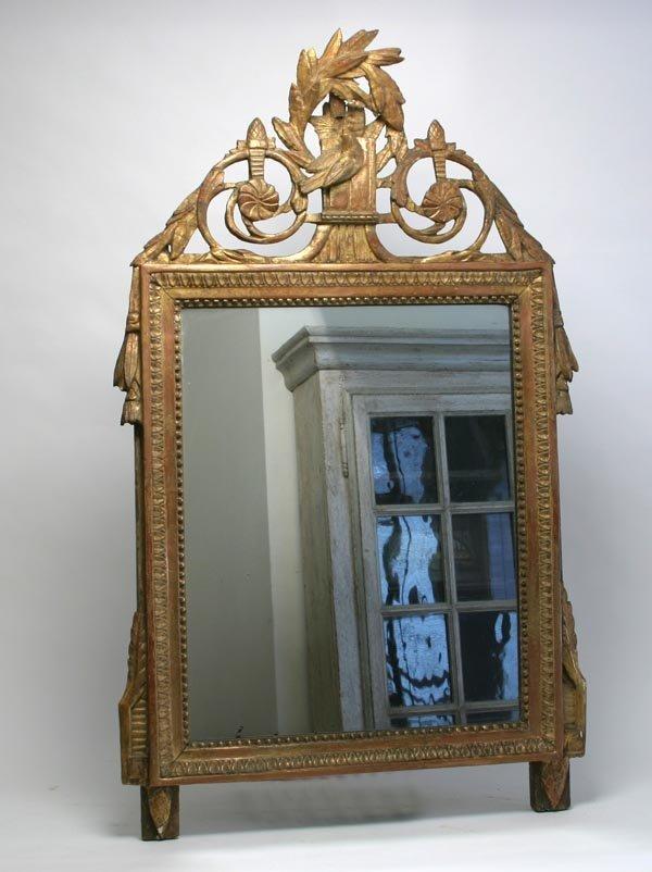 123: Louis XVI Carved Gilded Mirror with Original Gildi