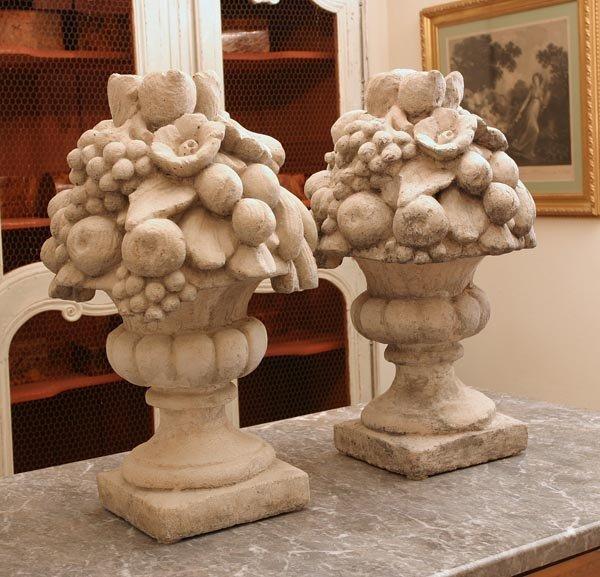 155: Pair of Stone Decorative Flower Sculptures