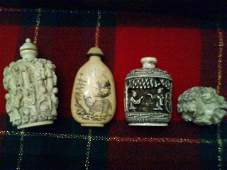 Lot of 4 Ivory Carved Pieces Qing Period W/ Jade