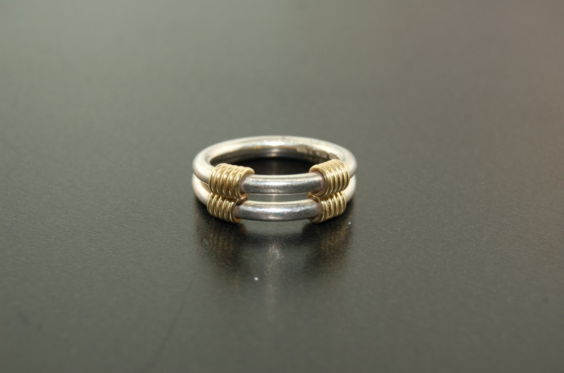 Tiffany & Co Silver & 18k Yellow Gold Ring