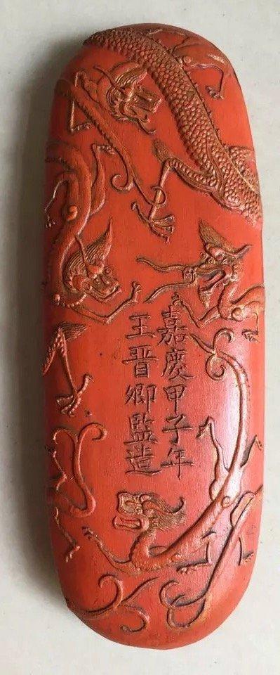 Antique Chinese Huizhou 'Hukaiwen' Cinnabar Ink Stick - 2