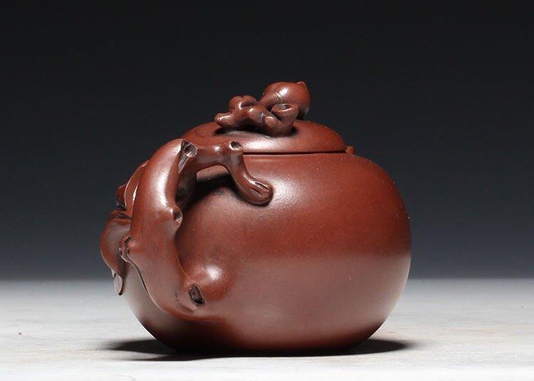 Chinese Carved Yixing Zisha Teapot - 4