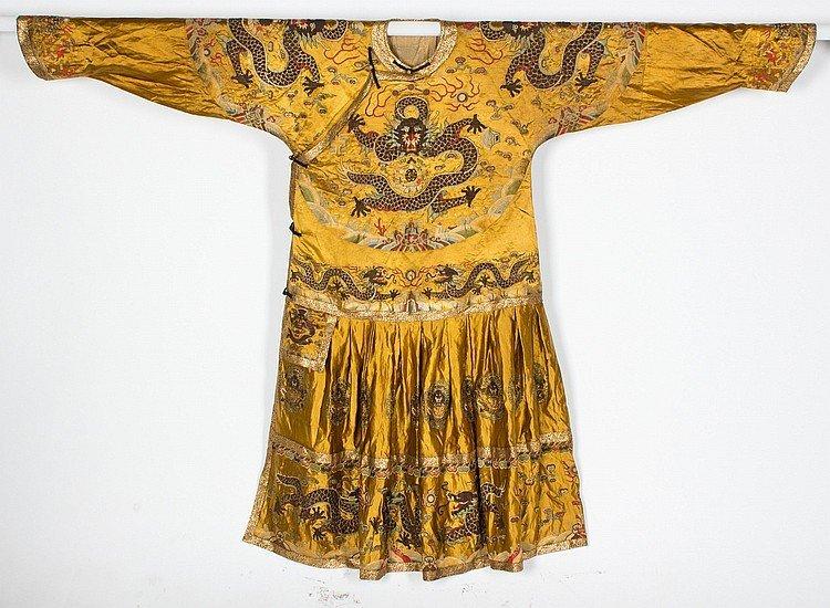 Qing Dynasty Embroidered Kesi Dragon Yellow Robe