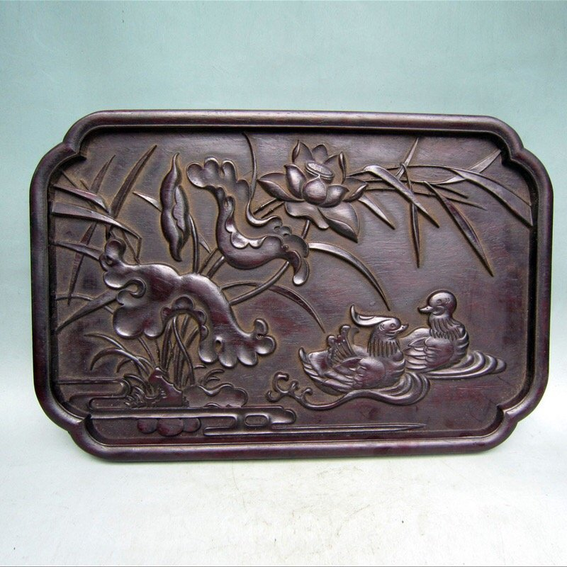 Antique Chinese Carved Zitan Tray