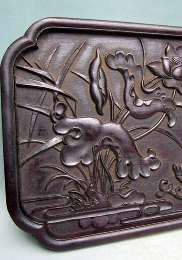 Antique Chinese Carved Zitan Tray - 2