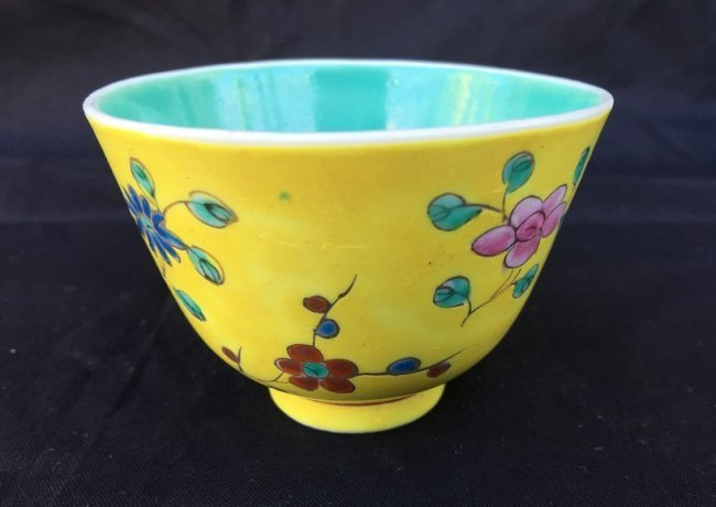 Antique Chinese Famille Rose Yellow Cup