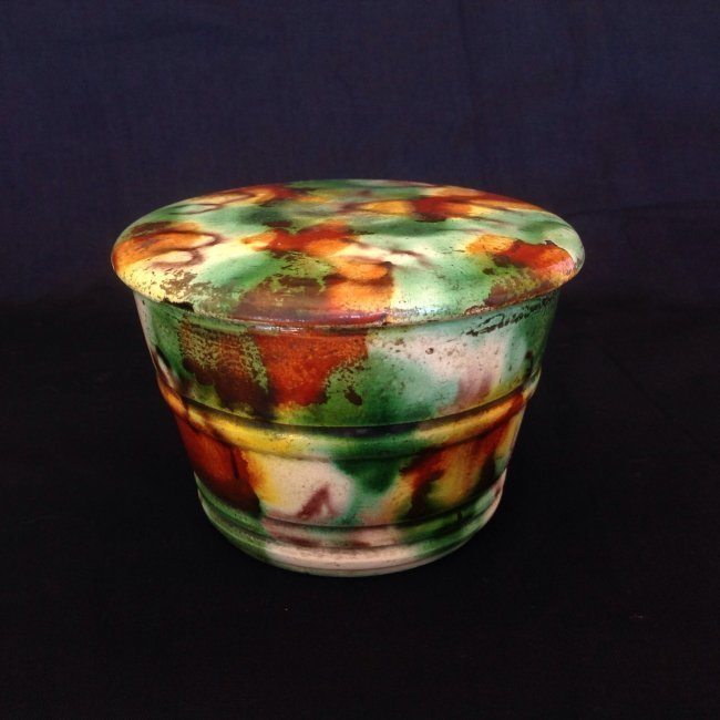 Antique Chinese Tri-Colored Glazed Pottery Cover Cup