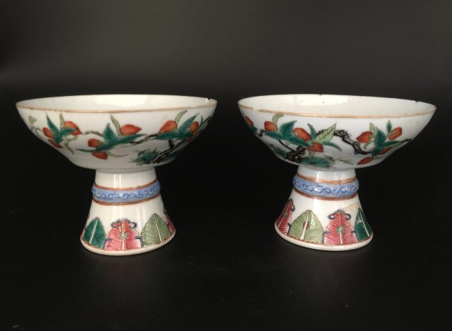 Pair of Antique Famille Rose Stem Plate