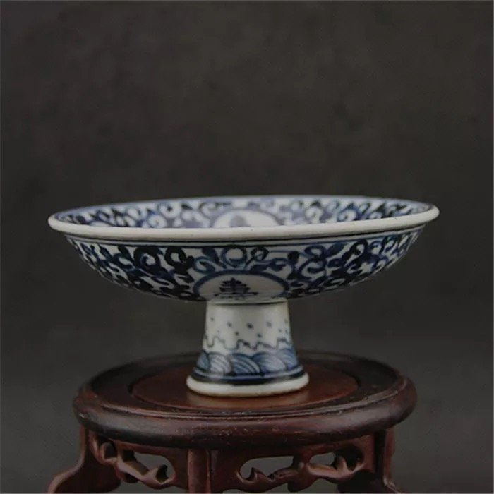 Antique Chinese Blue and White Stembowl