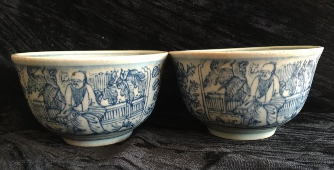 Pair of Antique Chinese Blue and White Bowl