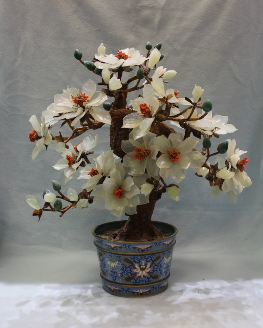 Large Antique Chinese Jade Tree