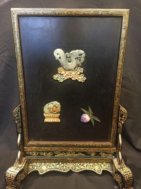 Antique Chinese Lacquer with Jade Stone Table Screen