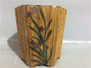 Antique Chinese Wood Hexagonal Brush Holder