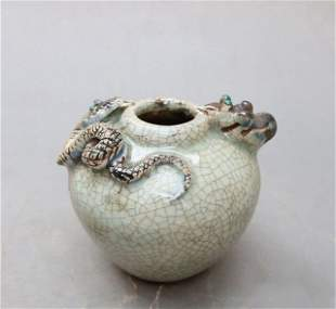 Antique Chinese Guan-Type Carved Jar