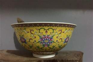 Antique Chinese Guan Yellow Famille Rose Bowl
