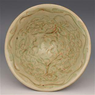 Antique Chinese Yaozhouyao Carved Conical Bowl