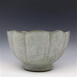 Antique Chinese Guan-Type Celadon-Glazed Flower Bowl