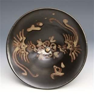 Antique Chinese Jirzhouyao Flambe-Glazed Conical Bowl