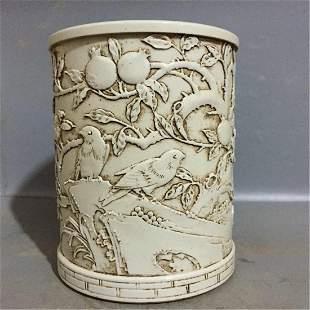 Antique Chinese Carved White Porcelain Brush Holder