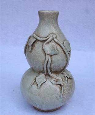 Antique Chinese Carved Celadon-Glazed Double-Gourd Vase
