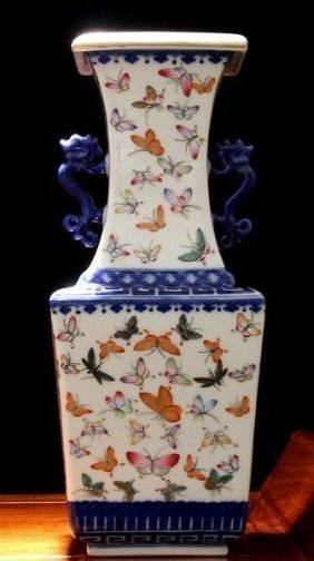 Antique Blue and White Famille Rose butterfly Vase