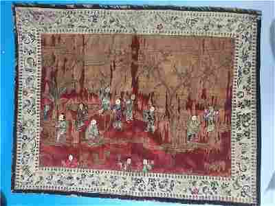 Late18 C Chinese Embroidered Silk Panel