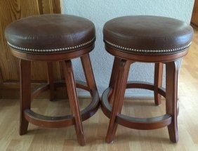 Pair of Leather Swivel Top Bar Stools
