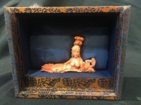 Antique Chinese Carved Coral Mermaid