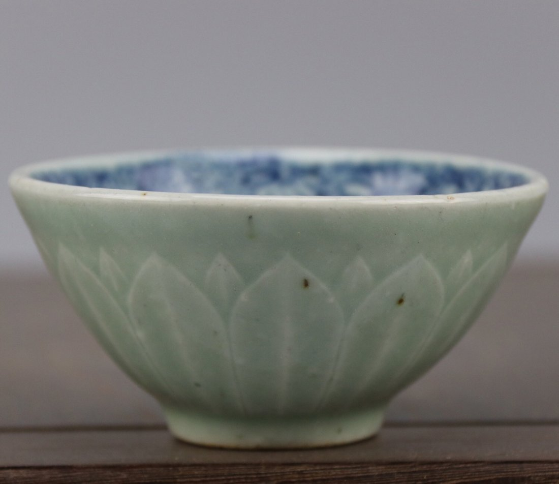 Antique Chinese Blue and White Celadon-Glazed Bowl