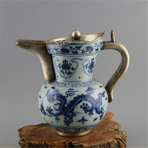 Antique Chinese Blue and White with Silver Pot