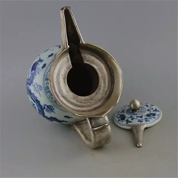 Antique Chinese Blue and White with Silver Pot - 4