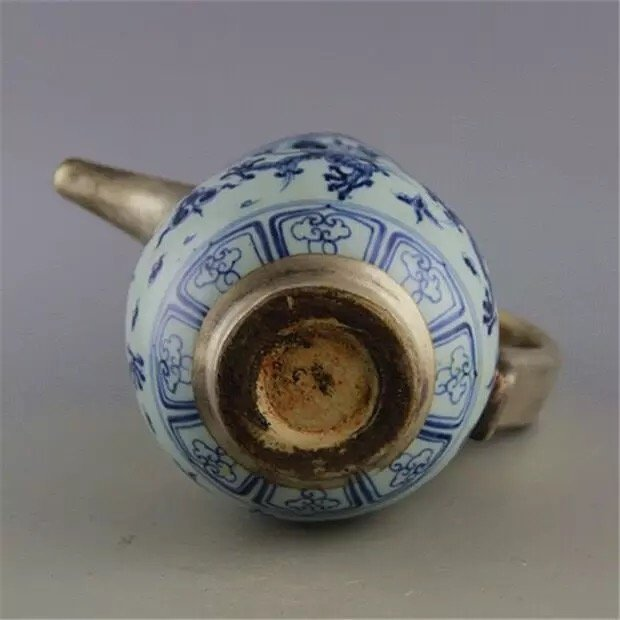 Antique Chinese Blue and White with Silver Pot - 5