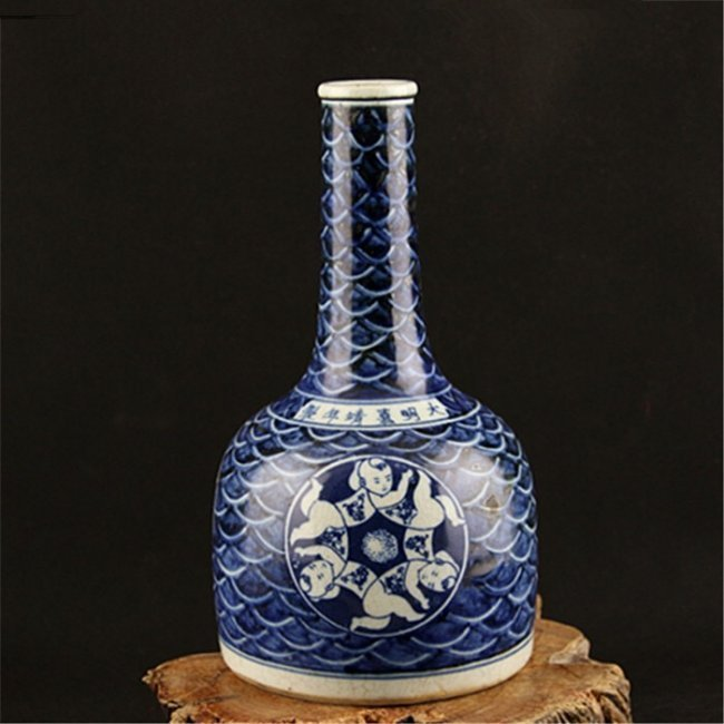 Ming Jiaqing Blue and White Mallet-Shaped Vase