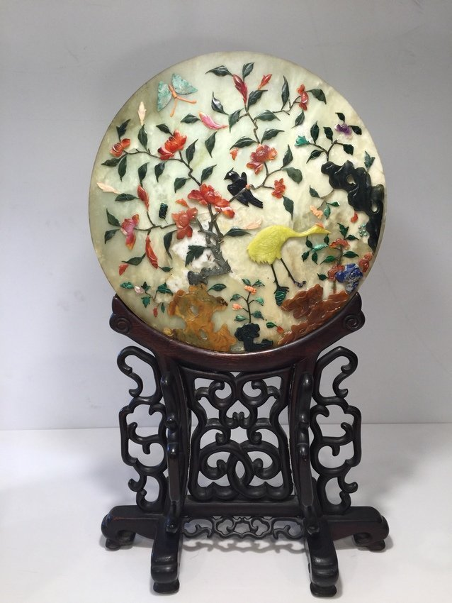 Antique Chinese Jade Rosewood Table Screen