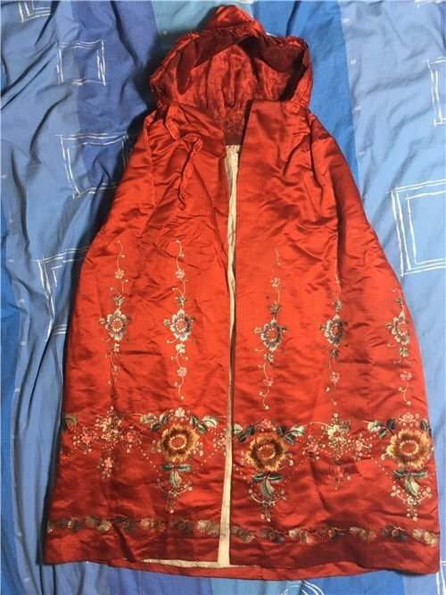 Antique Chinese Embroidered Silk Cloak