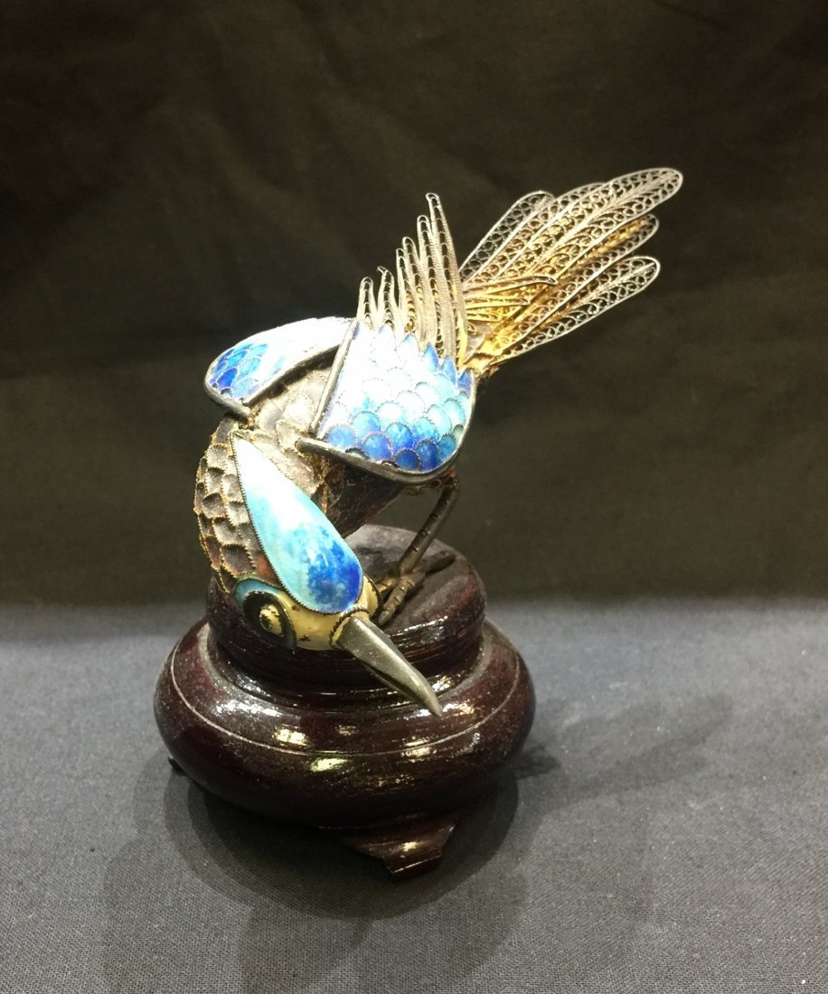 Antique Chinese Carved Cloisonne Bird Decoration - 2