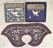 5 pieces Antique Chinese Embroidered Silk Panel