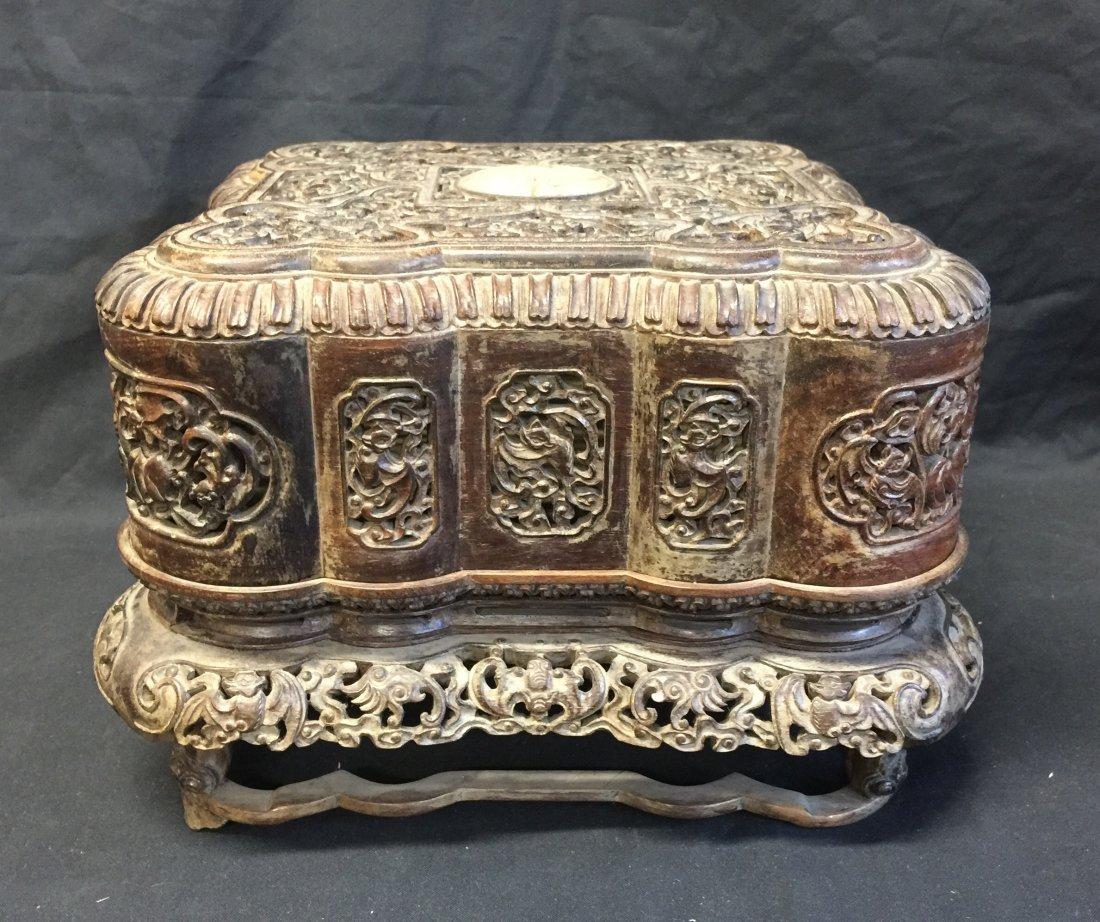 Qing Dynasty Carved Zitan Inlaid Jade Box